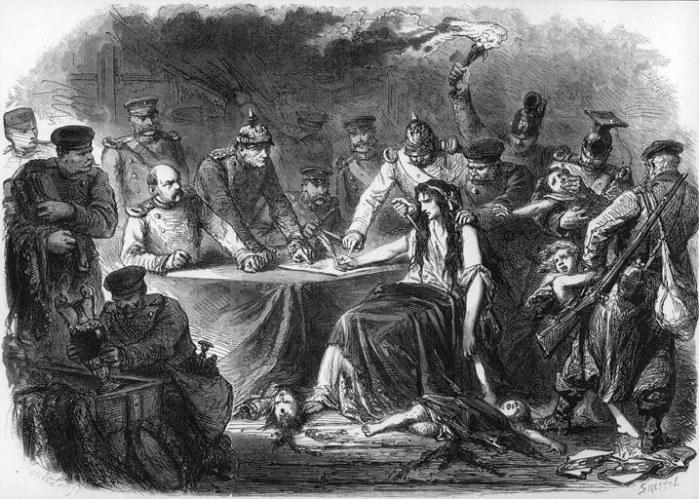 Allégorie de la France signant l'Armistice (Gravure de l'Illustration du 11 mars 1871)